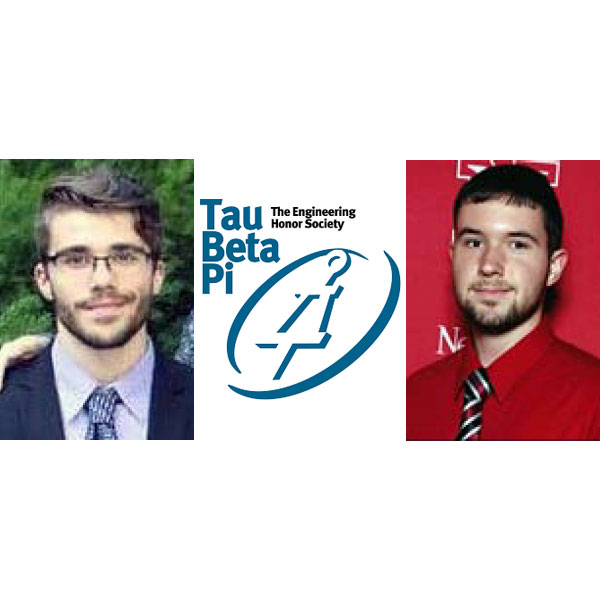 Nebraska Engineering students Zvonimir Pusnik (left) and Nicholas Seier were chosen as 2018-19 Tau Beta Pi Scholars.