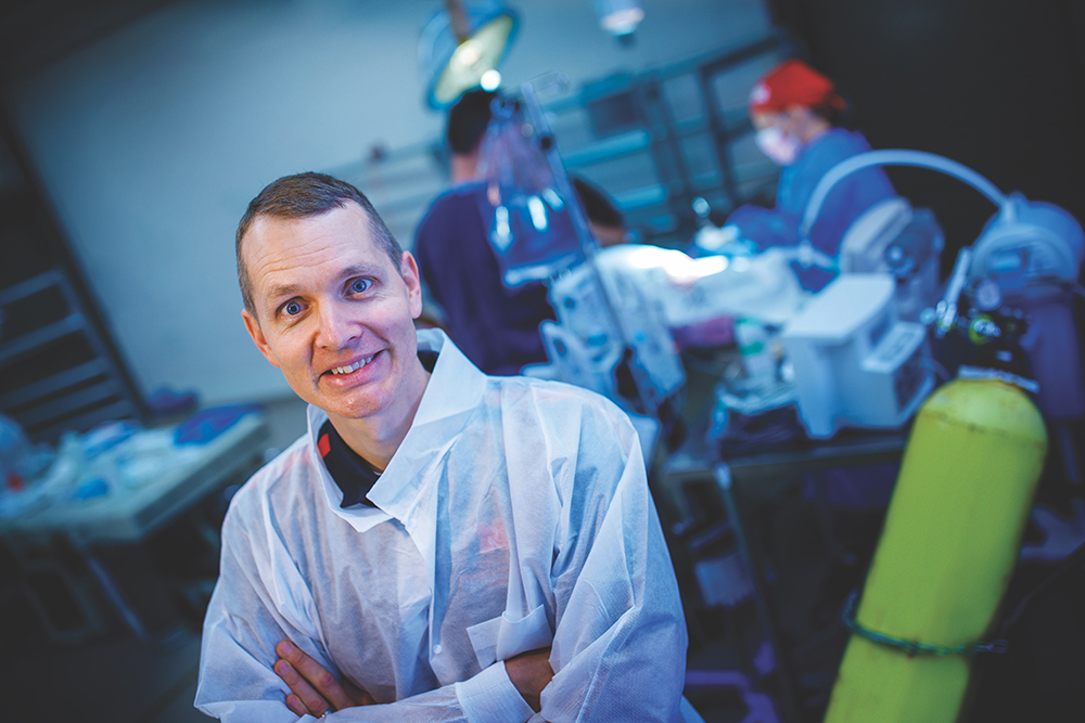 ssociate professor of mechanical and materials engineering at the University of Nebraska–Lincoln, and Keely Buesing, a trauma critical care surgeon at the University of Nebraska Medical Center, have developed a strategy for stacking two patients on the same ventilator. (Craig Chandler / University Communication)