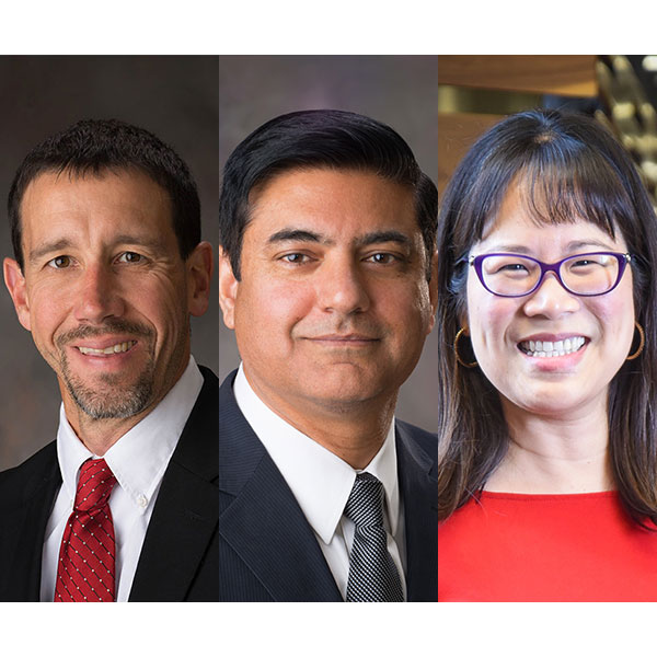 Three faculty – (from left) Daniel Linzell, Aemal Khattak and Lily Wang – have accepted new roles in the College of Engineering's leadership team.