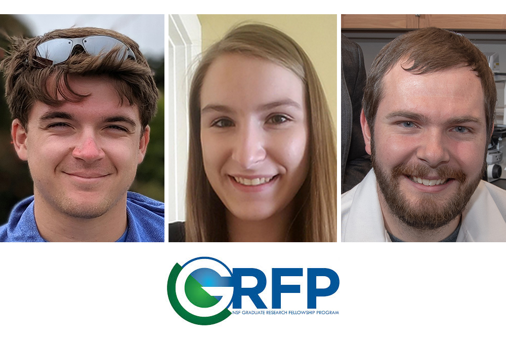Liam Kruse (left) and Mary Radke (center), seniors in mechanical engineering, and Jordan Rosenbohm, a master's student in mechanical engineering and applied mechanics, were chosen to receive National Science Foundation Graduate Fellowships.