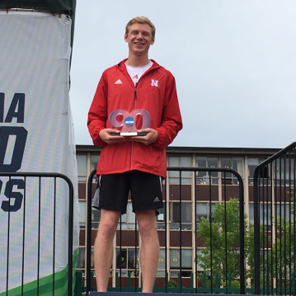 Drew Wiseman, a senior in electrical and computer engineering, receives the 2017 Elite 90 award at the NCAA Outdoor Track and Field Championships.