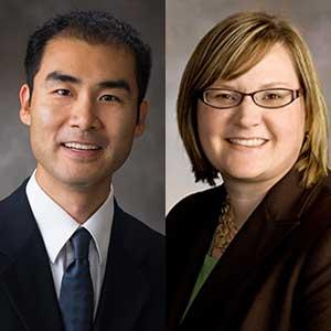 Xu Li (left) and Shannon Bartelt-Hunt, associate professors of civil engineering