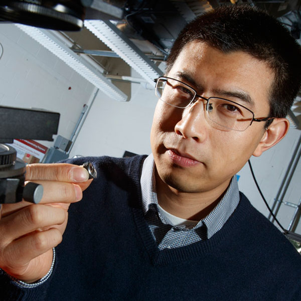 Ruiguo Yang, assistant professor of mechanical and materials engineering, and his colleagues found a way to analyze the fibrous nanostructure of beetles. Better understanding the structure and properties of beetle exoskeletons could help scientists engineer lighter, stronger materials. (Craig Chandler/University Communication)