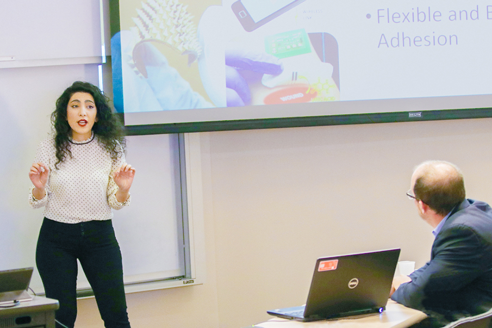 Fariba Aghabaglou, doctoral student in biomedical engineering, won first place among graduate students and faculty with a pitch for SmartFlex, a smart bandage system.