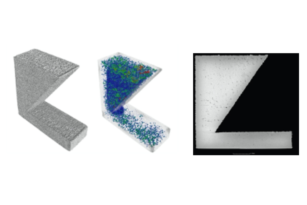 A 1-inch tall, 3D-printed aerospace bracket looks perfectly serviceable on the outside (left image), but tomographic imaging from a new XCT machine (center and right images) in the NERCF shows the bracket is full of pores on the inside.