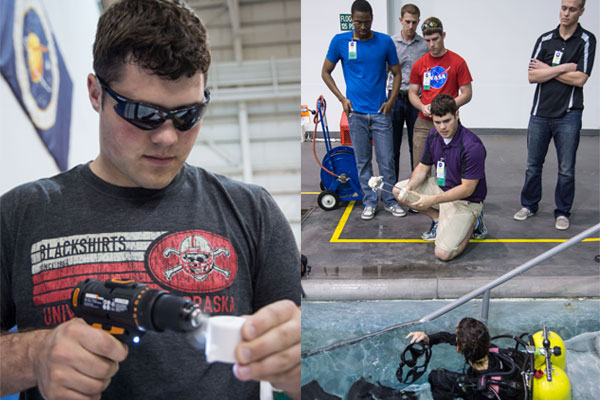 Project manager Luke Monhollon (left) uses a drill to assemble the sample collection tool before the ASR team gives it to a NASA diver (right) for testing at the Johnson Space Center in Houston, Texas.
