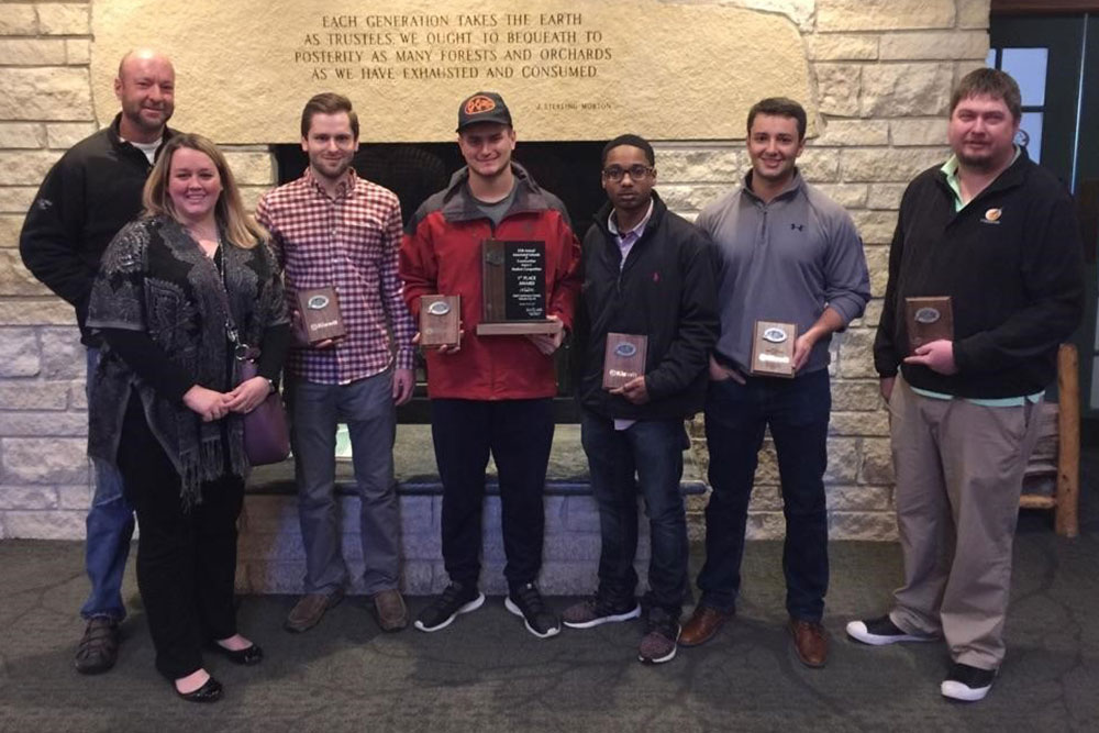Taking first place was the Durham School's Heavy Highway Team, (from left) coaches Kevin Grosskopf and Kelli Herstein, and students Niles Uerling, Brandon Wallman, Kristopher Bridges, Scott Hurtz, and Nicholas Hoefs.