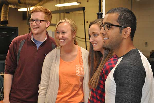 The entry from Team 10 - (from left) Christopher Davidson, Samantha Nelson, Halle Swann and Jai Sahni - was chosen as the winner at the Rapid Design Challenge. Each member of the winning team received a gift certificate from the UNL Dairy Store.