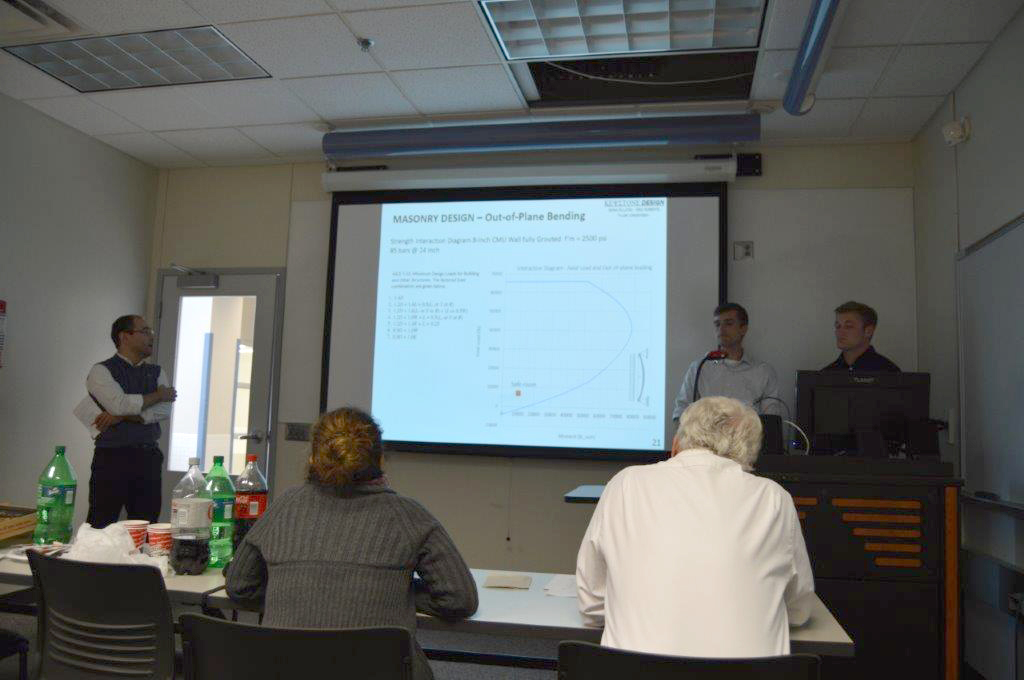 Masonry and Timber Design class members presenting.