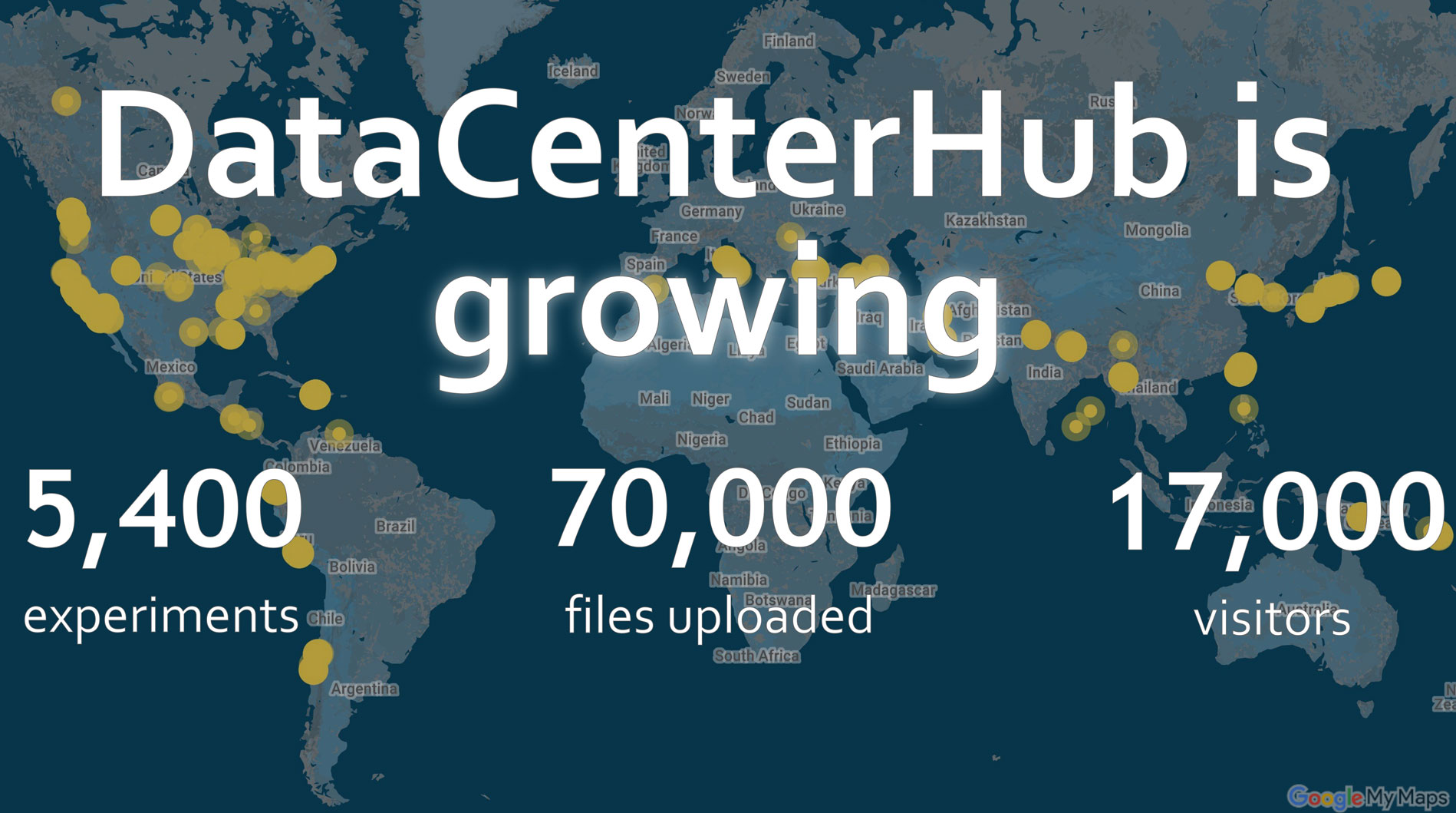 DataCenterHub currently hosts over 30 TB of data, encompassing over 5,400 experiments