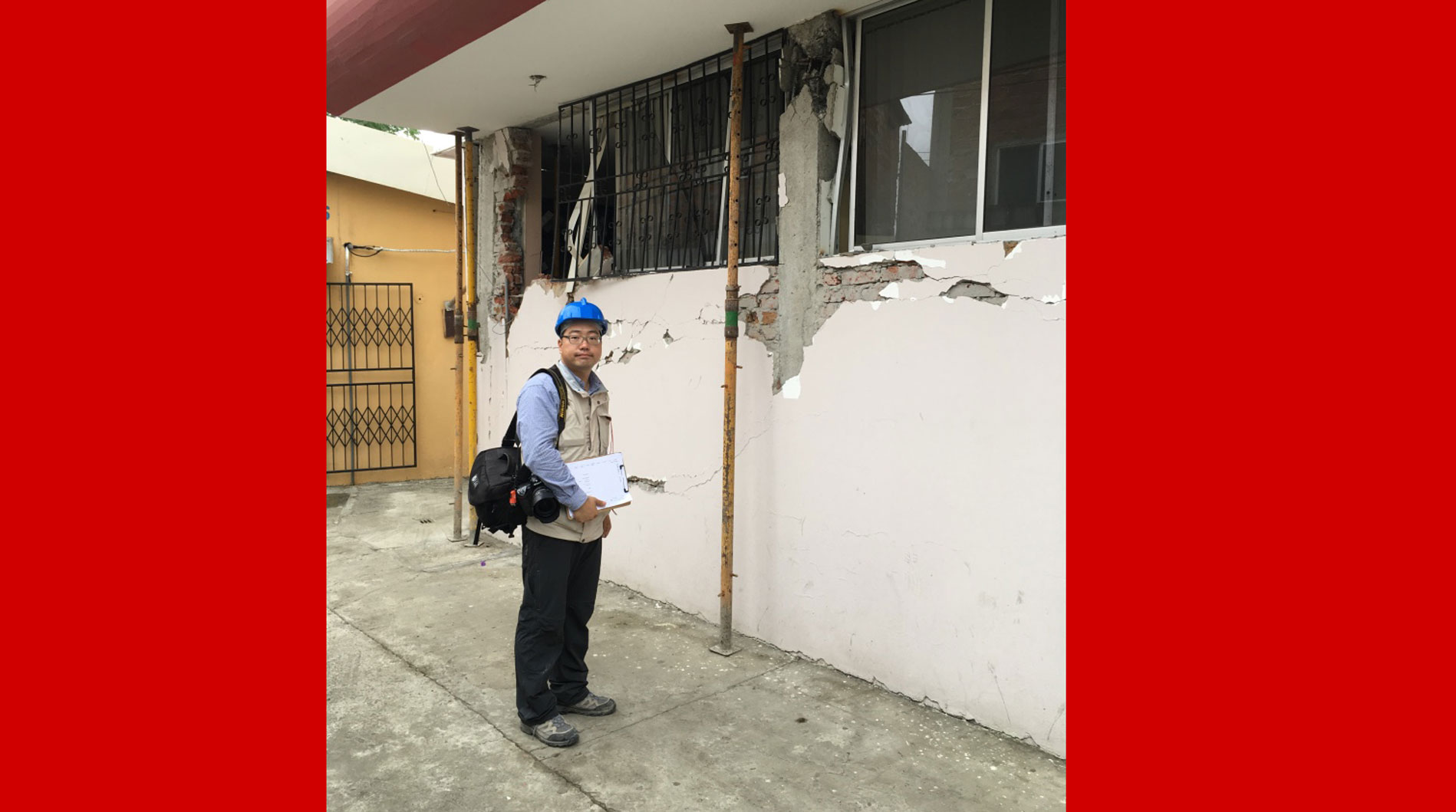 Dr. Sim surveying captive columns after the April 2016 earthquake in Ecuador. The results of this survey have been uploaded to the DataCenterHub platform.