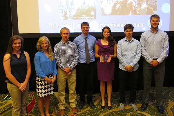 UNL's Fountain Wars team - (from left) Anna Siebe, captain Julia Burchell, Mitch Maguire, faculty advisor Derek Heeren, captain Bethany Brittenham, Douglas Rowen and Mitchell Goedeken - took second place at the recent ASABE conference in New Orleans.