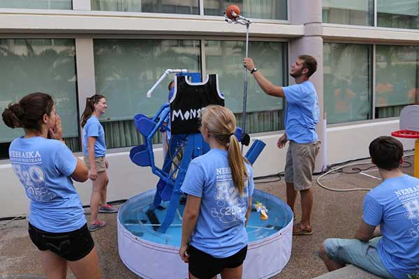 The UNL Fountain Wars team prepares its entry for the competition at the ASABE conference in New Orleans.