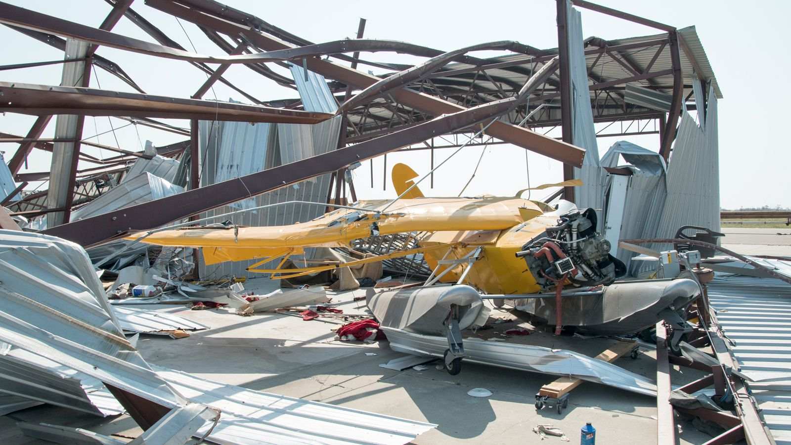 Airplane and hanger damage at Aransas County Airport, TX.
