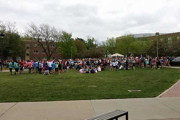 More than 600 walkers walkers gathered near Broyhill Fountain for the Out of the Darkness Campus Walk on April 17.