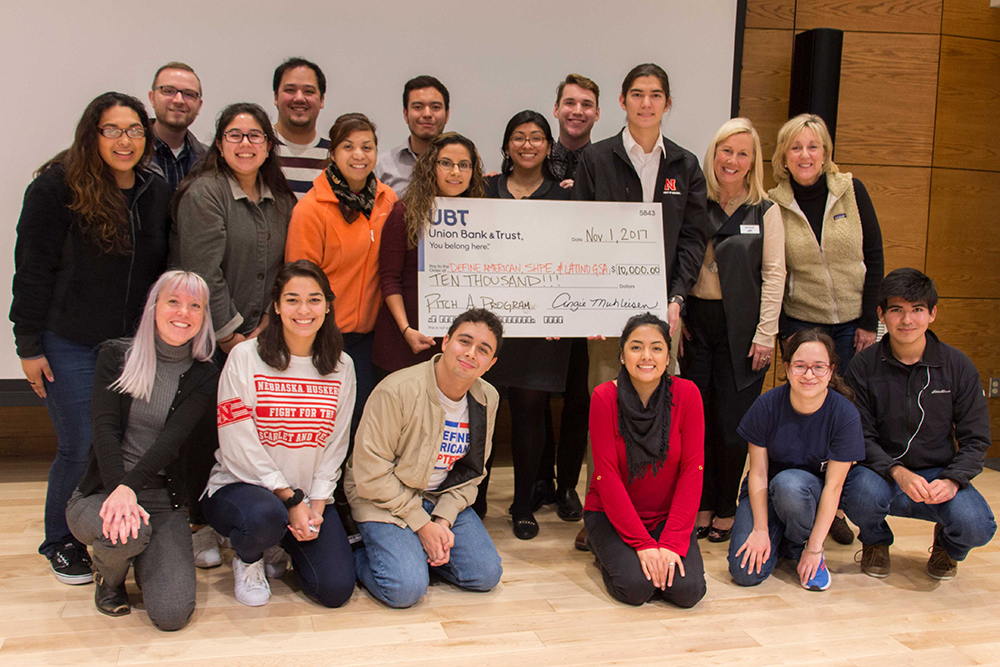 Winners of the 'Pitch A Program' competition was a coalition of Recognized Student Organizations, including members of the Society of Hispanic Professional Engineers, Define American, and the Latino Graduate Student Assembly.