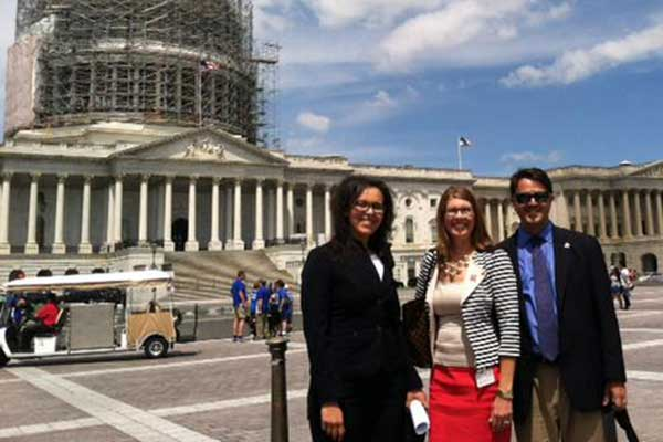 Angela Pannier (center), associate professor of biological systems engineering, and two of her fellow Science2034 panelists visit the U.S. Capitol on June 24.