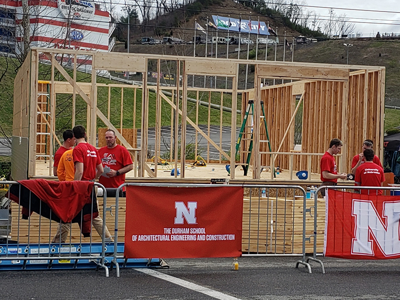 Nebraska construction management students work on one of the three houses they built as part of the Race to Build competition April 5-7 in Bristol, Tennessee.