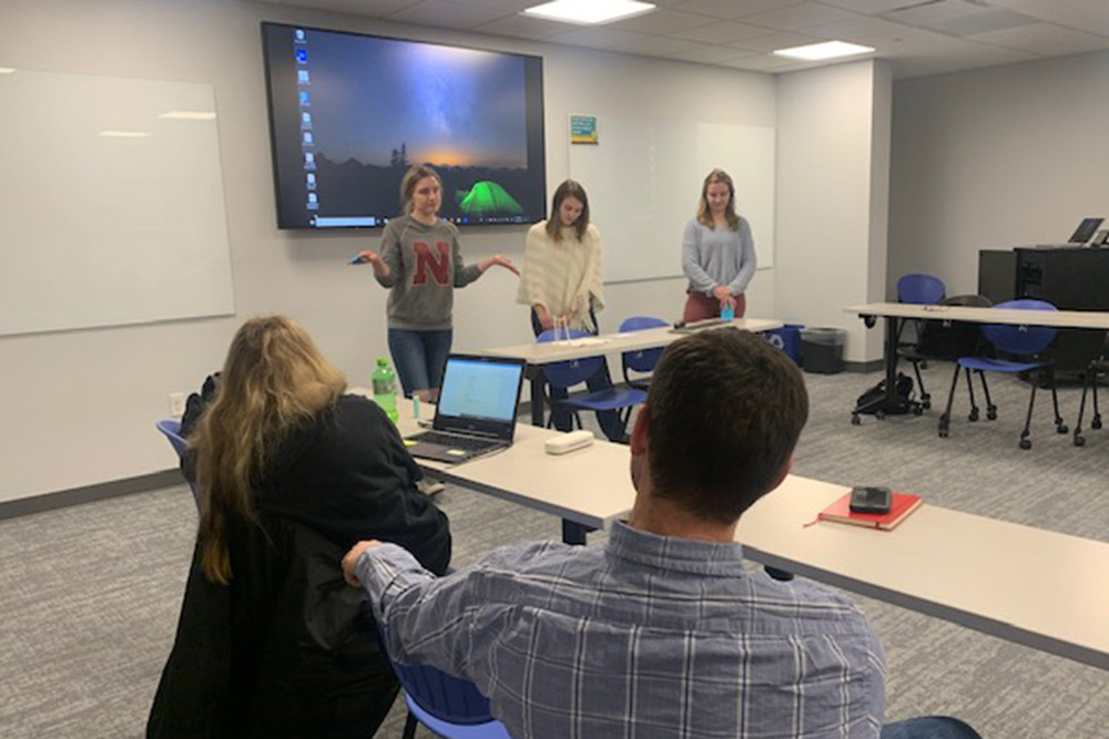 "Students present their innovative product idea during a classroom session of ""When the Levee Breaks,"" a pop-up course in October 2019 that examined the Nebraska floods of March 2019."