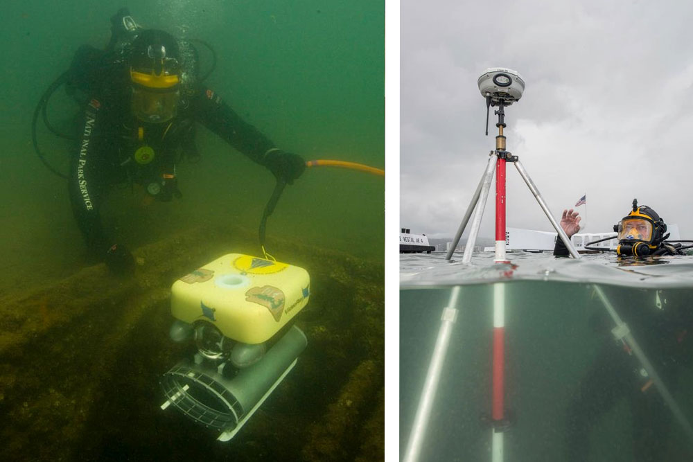 Divers from the National Park Service have used remote-operated vehicles (ROVs) to explore the interior of the USS Arizona. (Photo courtesy National Park Service)
