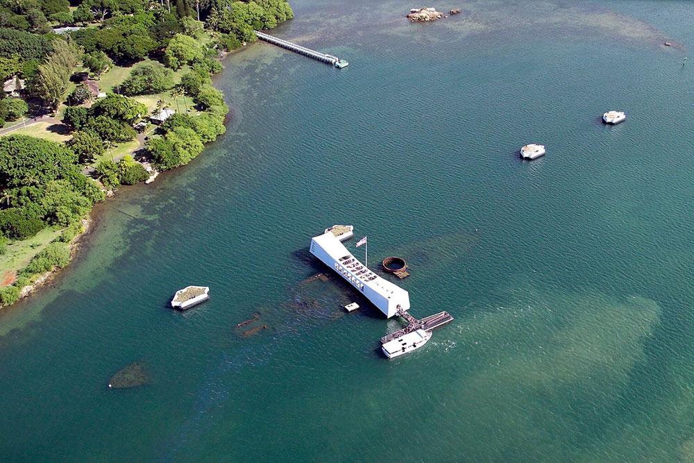 In 1962, a memorial was built over the top of the sunken wreckage of the USS Arizona (Photo courtesy National Park Service)