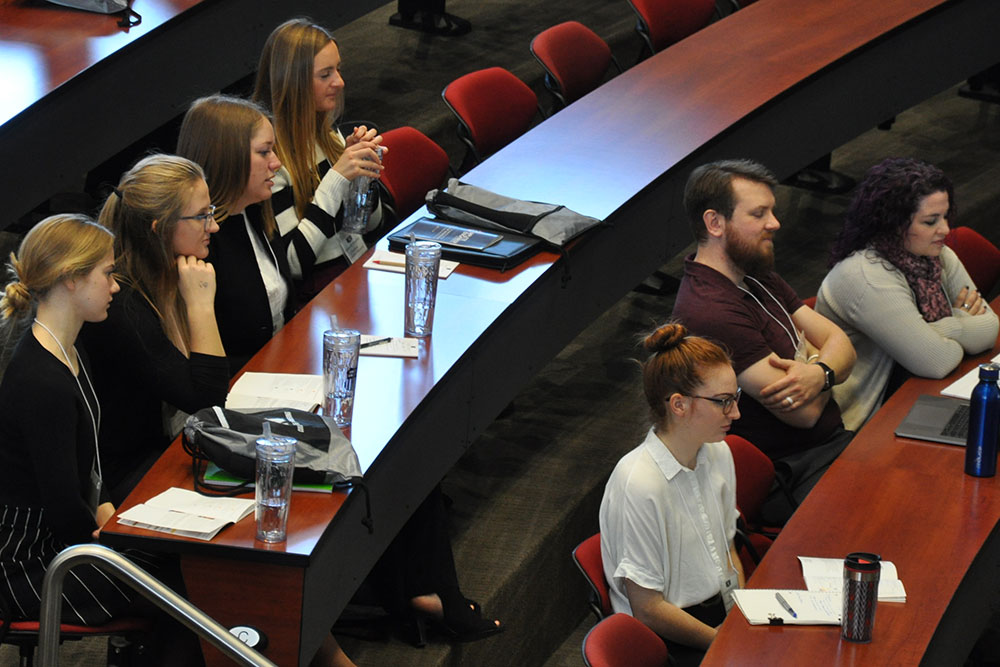 Engineering students listen to speaker Jason Rea, assistant vice president of Engineering Construction at Union Pacific, duriing the morning session Friday, March 2 at Nebraska Innovation Campus.