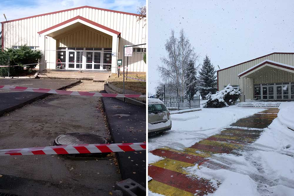 Aurubis constructed a 700-square foot walkway between two buildings (left), and the conductive concrete installed cleared a clean path between them (right) during a big snow storm. (Photos by Vladislov Petrov / Aurubis commercial director)