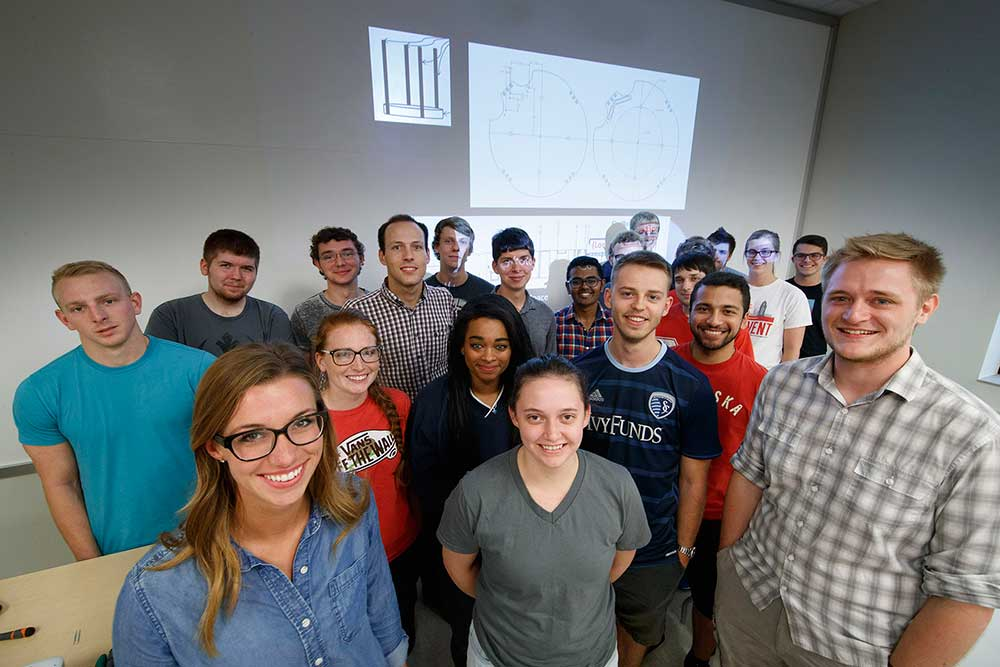 The Nebraska Engineering team includes (front row, from left) Taylor Kerl, Amy Price and Chris Volle, (second row, from left) Ethan Krings, Elizabeth Balarud, Alexa Aikens, Derek Stapleton and Firdavskhon Nasimov and (back row) Nate Jensen, Brandon Warren, Michael Cox, Jacob Stinsin, John Chrostek, Shivang Vaidya, Andrew Reicks, Anton Hassebrook, Mitch Clark, Kevin Pflager, Matthew Bennett, Sarah Wallis and Emin Tahirov.