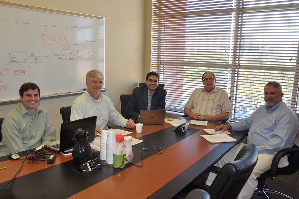 Team members who will work on the cyberbiosecurity project include (from left) Joseph Ernst, research assistant professor of electrical engineering at Virginia Tech; Jeff Briggs, information systems manager at UNL's BPDF; Ahmed Abdelhadi, research assistant professor of electrical engineering at Virginia Tech; Wallace Buchholz, BPDF director and research professor of chemical and biomolecular engineering; and Randall Murch, research leader for biosecurity and forensics at Virginia Tech.