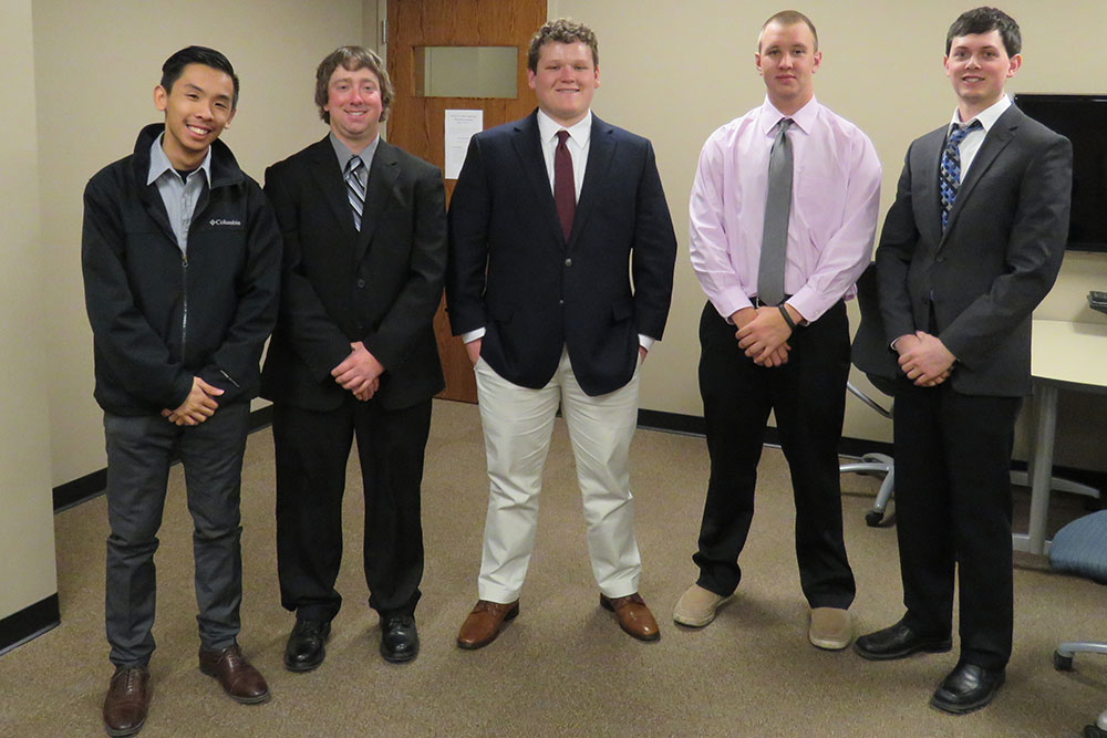Construction management senior design capstone team members (from left) Sang Lam, Devron Crawford, Kyle Hohenstein, Alix Meisinger and Kelton Terry.