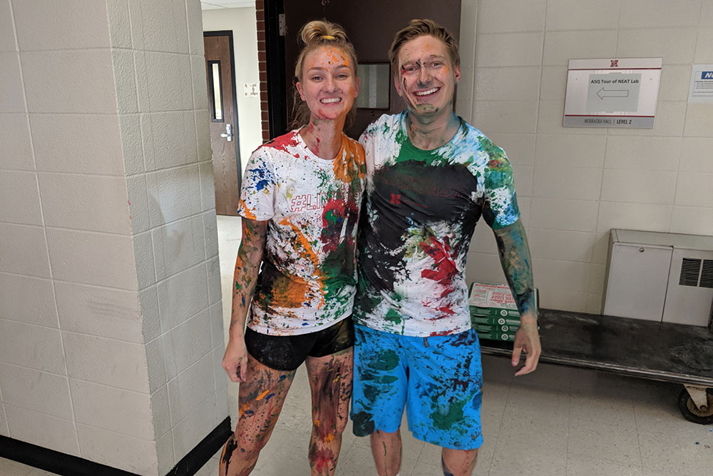 Some of the students' shirts and skin more closely resembled abstract art after #LINKBASH.