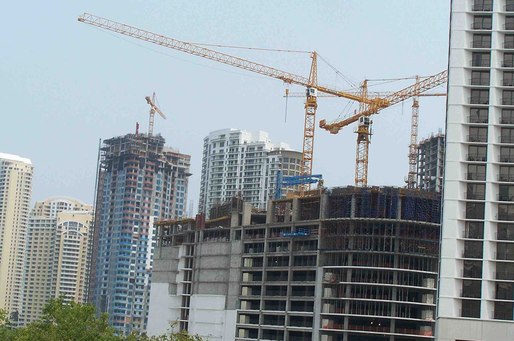 About two dozen construction cranes can be seen in downtown Miami. The potential for the cranes to collapse when Hurricane Irma makes landfall this weekend is a unique concern, said Terri Norton, associate professor of construction engineering at the University of Nebraska-Lincoln.