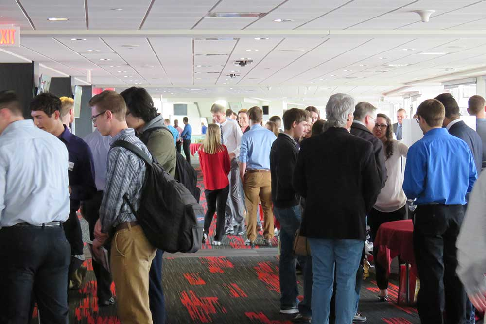 More than 300 guests attended the Senior Design Showcase and viewed 46 senior design capstone projects on April 21 at Memorial Stadium's East Stadium Club Level.
