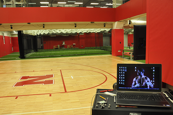 At the Nebraska Athletic Performance Laboratory, athletes can be tested on a basketball court using motion capture sensors.