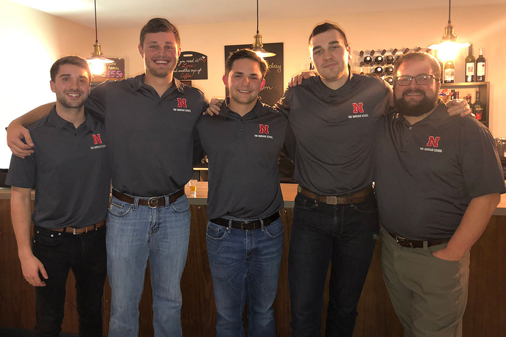 Matthew Barrows (right), assistant professor of practice in construction programs, and the student team of Zach Barnhill, Brad Hurtz, John Pupkes and Brady Standage attended the ASC Region 8 conference in Manchester, England, Nov. 7-9 and took second place in the Quantity Surveying/Construction Management competition.