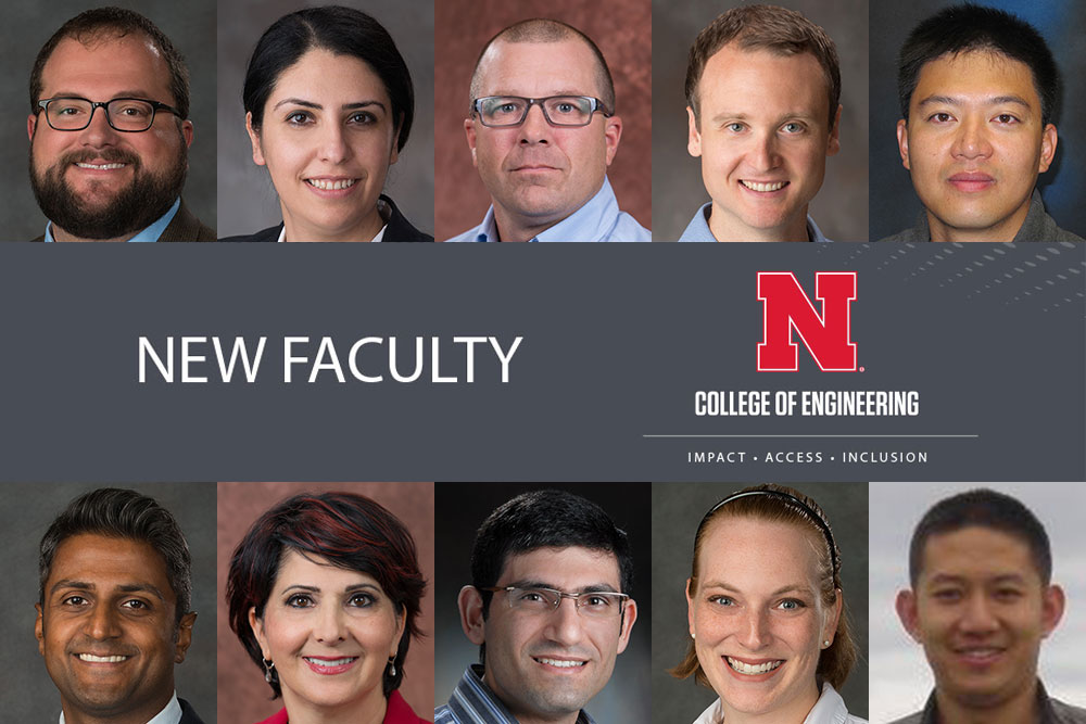 The 10 new faculty at the College of Engineering are (top row, from left): Matthew Barrows, Mona Bavarian, Brandon Kreiling, Ryan Pedrigi, and Xin Qiao; (bottom row, from left) Vish Reddi, Jena Shafai Asgarpoor, Ali Tamoyal, Stephanie Valentine and Kuan Zhang.