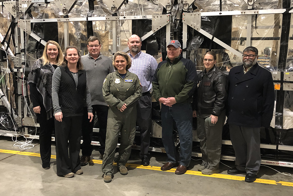 Durham School faculty Kelli Herstein (far left) and Terry Stentz (third from right) joined with personnel from the U.S. Air Force and University of Nebraska Medical Center for a simulated mission in 2018.