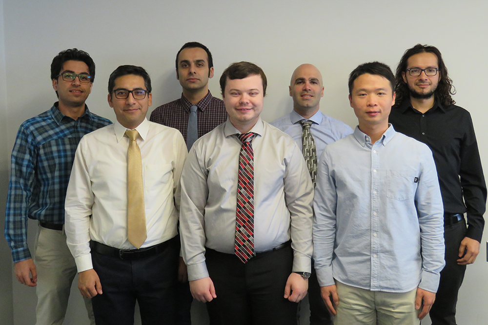 The doctoral students in the inaugural cohort of the Graduate Student Teaching Fellows Program (GSTFP) are (from left): Mostafa Soltaninejad, civil engineering;  Frank Fabian, chemical engineering; Shahab Karimifard, civil engineering; Jack Rauch, chemical engineering; Vahraz Honary, electrical engineering; Shaobin Li, civil engineering; and Jairo Cervantes, electrical engineering.
