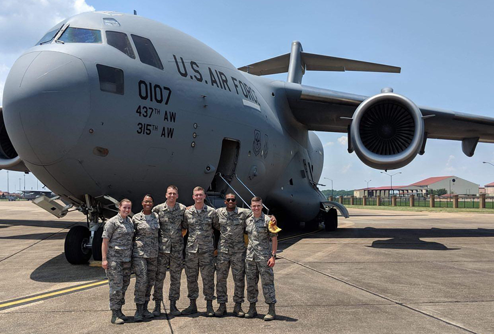 Justin Humphrey (left), a senior civil and environmental engineering major and a cadet in the University of Nebraska-Lincoln Air Force ROTC, has been chosen to receive the Society of American Military Engineers (SAME) ROTC Award of Merit.