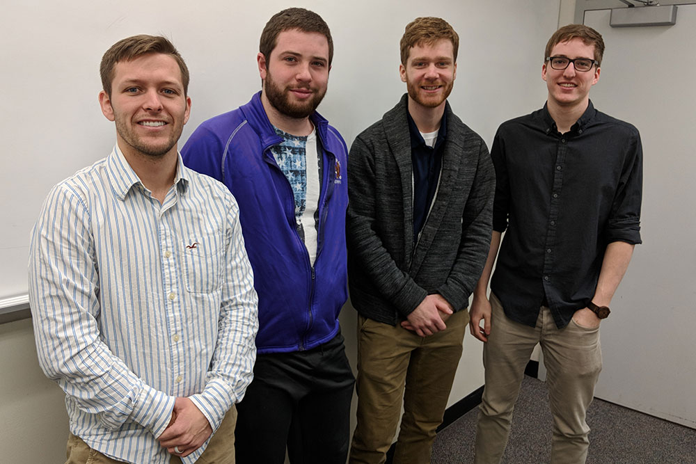 "Designing a ""smart insole"" to monitor foot temperature in diabetes patients was the electrical and computer engineering senior design capstone team of (from left) Zachary Meade, Kurt Pavlik, Jacob Curtis and Mason Schleu."