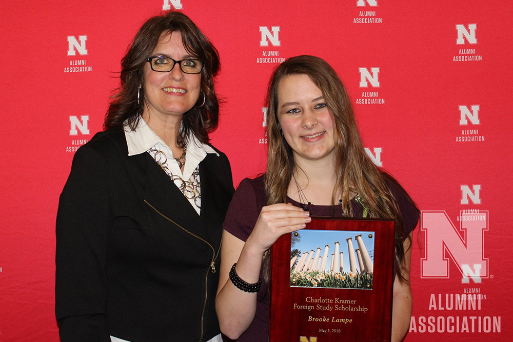 Brooke Lampe (right), a sophomore in software engineering, received the Charlotte Kramer Foreign Study Scholarship at the May 3 Alumni Honors Night at Nebraska Innovation Campus. (Nebraska Alumni Association photo)