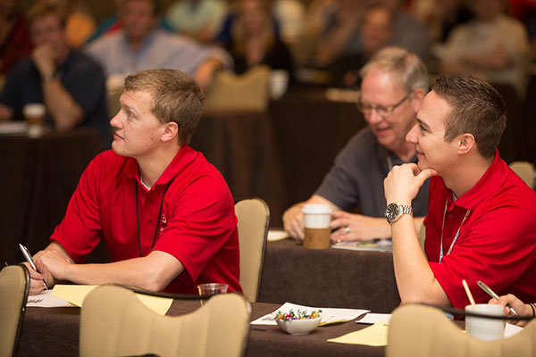 MESC student chapter members and construction management majors Tim Drake (left) and Adam Crnkovich listen to a presentation March 24 during the MCAA conference in Orlando, Florida.
