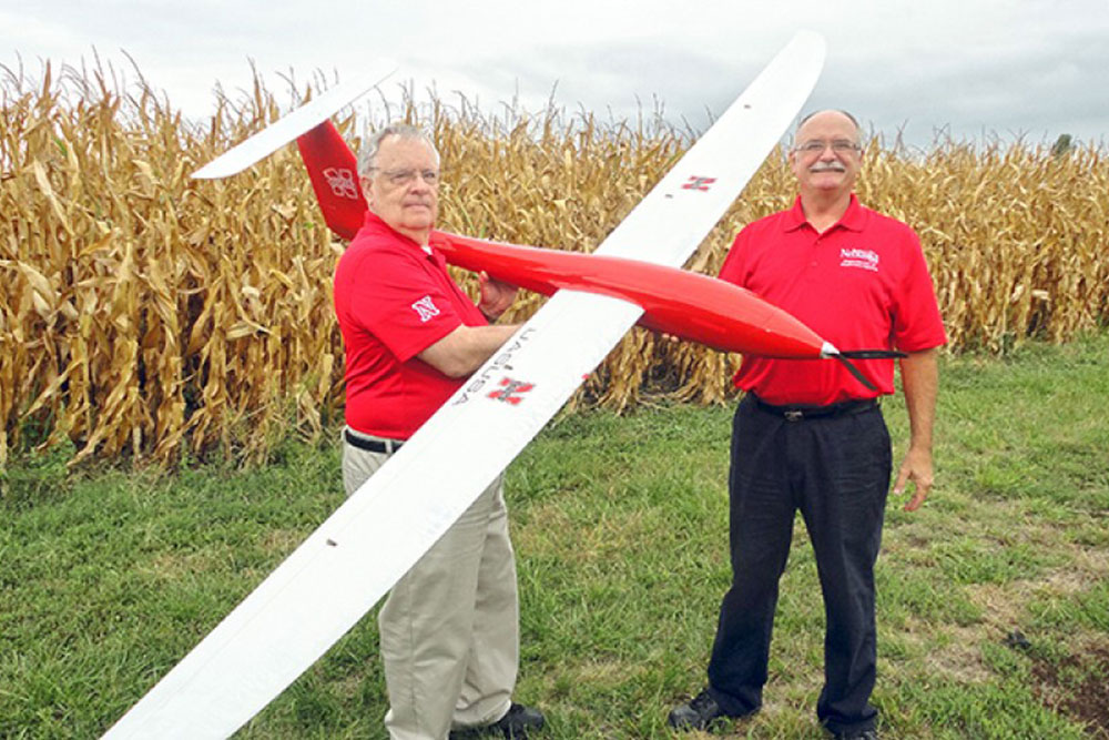 Wayne Woldt, (right) associate professor of biological systems engineering, and George Meyer, professor of biological systems engineering, complete a preflight check on the Tempest unmanned aircraft. Woldt was awarded a Presidential Citation from ASABE for his work on a three-part series on unmanned aircraft systems that appeared in Resource magazine.