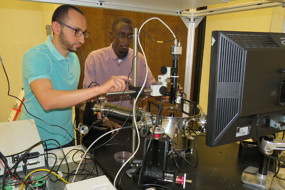 Sidy Ndao (right), assistant professor of mechanical and materials engineering, and graduate student Mahmoud Elzouka have created a thermal diode that will allow computers to use heat as an energy source to allow their operation in ultra-high temperatures.