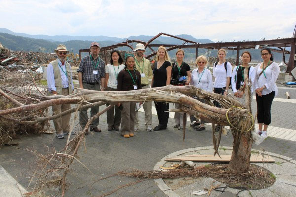 Norton (fourth from left) joins her EERI/ISSS group on-site in northeast Japan.