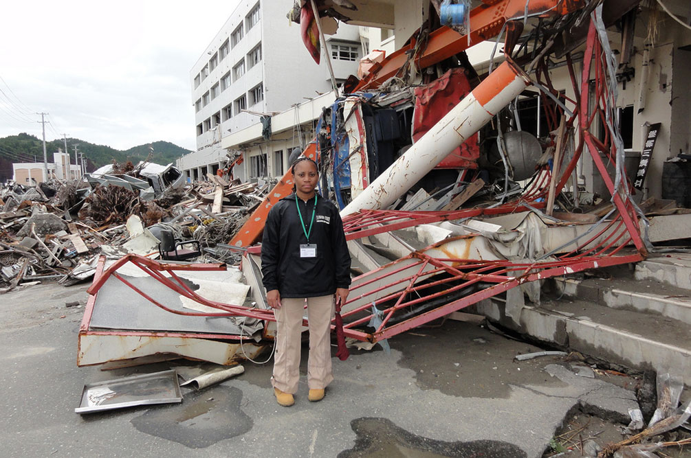 Terri Norton, associate professor of construction engineering, studied the debris fields created by the 2001 tsunami and earthquake in Japan. Norton, whose research includes  natural hazard mitigation and management and disaster debris management, is keeping an eye on the debris caused by Hurricanes Harvey and Irma.