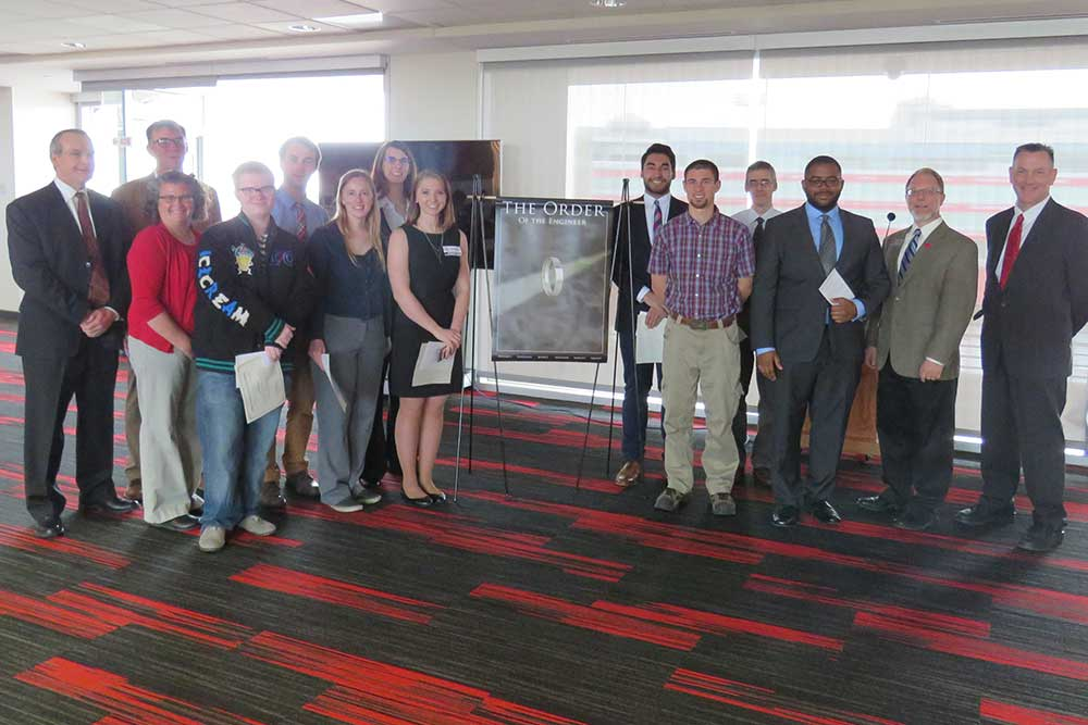 Nine students joined the Order of the Engineer on April 21 in a ceremony held in the Memorial Stadium East Stadium Club Level after the annual Senior Design Showcase.