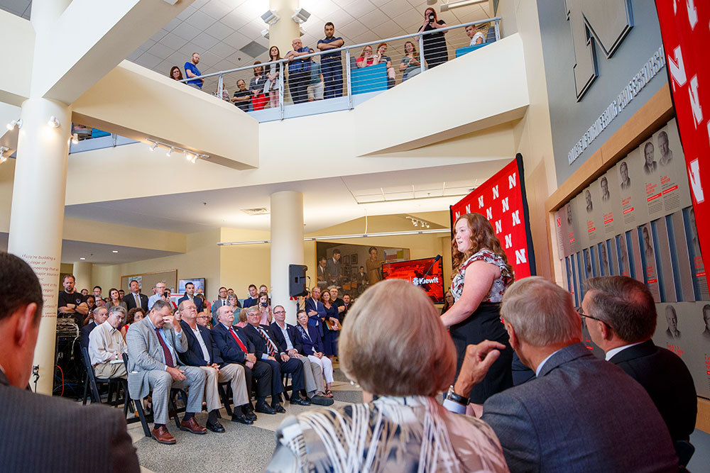 "Delaney Bachman, a senior in chemical and biomolecular engineering, says the new Kiewit Hall ""will add an even greater sense of family and community for engineers ... (and will) make a huge impact on recruiting students."" (Craig Chandler/University Communication)"