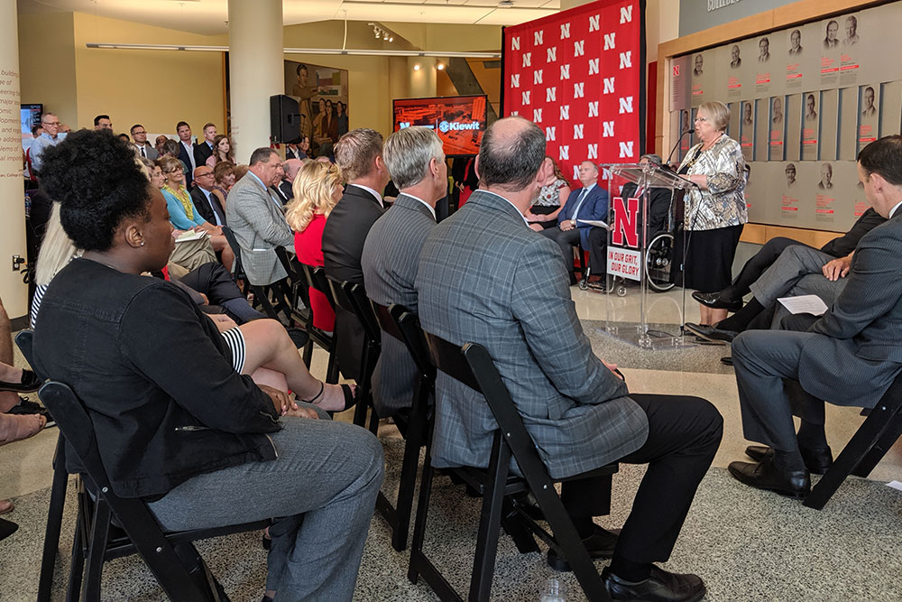 University of Nebraska interim president Susan Fritz speaks to the nearly 200 people who came to Othmer Hall to hear about the Peter Kiewit Sons', Inc. gift to the College of Engineering.