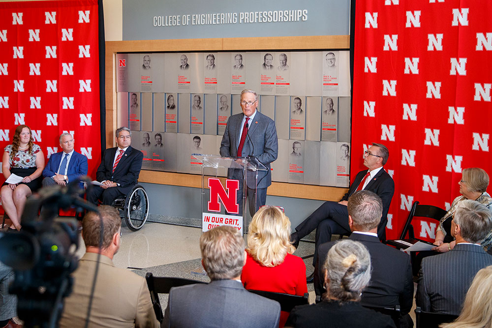 "Bruce Grewcock (right), chairman and chief executive officer of Peter Kiewit Sons', Inc., says the new Nebraska Engineering building will make a difference to the state of Nebraska. ""The need for engineering education and engineering students is huge in this country. As part of our commitment ... we want to do something about that.""  (Craig Chandler/University Communication)"